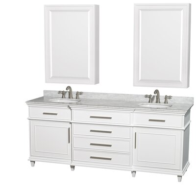 Berkeley 80 Double White Bathroom Vanity Set with Medicine Cabinet Top Finish: White Carrera Marble
