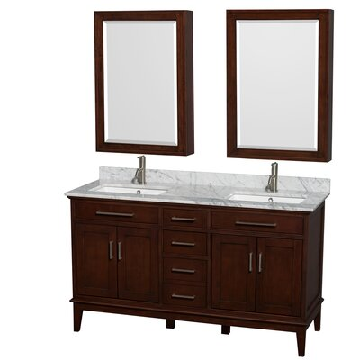Hatton 60 Double Dark Chestnut Bathroom Vanity Set with Medicine Cabinet Faucet Mount: Single Hole, Top Finish: White Carrera Marble