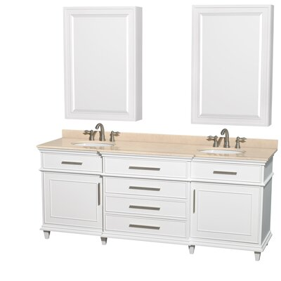 Berkeley 80 Double White Bathroom Vanity Set with Medicine Cabinet Top Finish: Ivory Marble