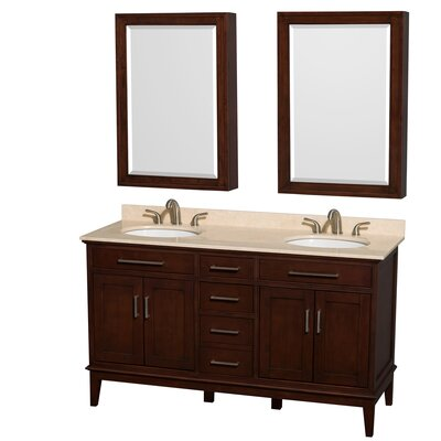 Hatton 60 Double Dark Chestnut Bathroom Vanity Set with Medicine Cabinet Top Finish: Ivory Marble, Faucet Mount: 8 Centers