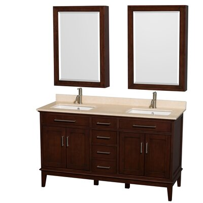 Hatton 60 Double Dark Chestnut Bathroom Vanity Set with Medicine Cabinet Top Finish: Ivory Marble, Faucet Mount: Single Hole