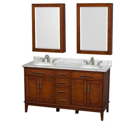 Hatton 60 Double Light Chestnut Bathroom Vanity Set with Medicine Cabinet Faucet Mount: 8 Centers, Top Finish: White Carrera Marble