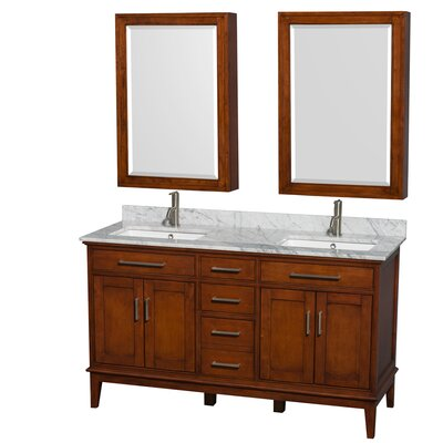 Hatton 60 Double Light Chestnut Bathroom Vanity Set with Medicine Cabinet Top Finish: White Carrera Marble, Faucet Mount: Single Hole