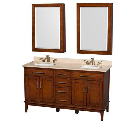 Hatton 60 Double Light Chestnut Bathroom Vanity Set with Medicine Cabinet Top Finish: Ivory Marble, Faucet Mount: 8 Centers