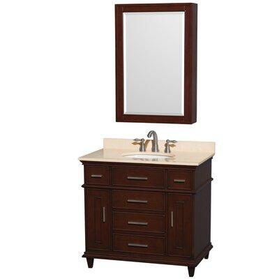 Berkeley 34 Single Dark Chestnut Bathroom Vanity Set with Medicine Cabinet Top Finish: Ivory Marble