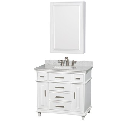 Berkeley 34 Single White Bathroom Vanity Set with Medicine Cabinet Top Finish: White Carrera Marble