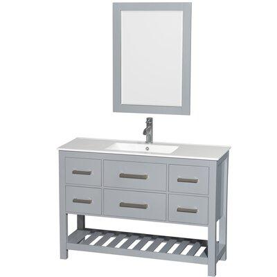 Natalie 48 Single Gray Bathroom Vanity Set with Mirror