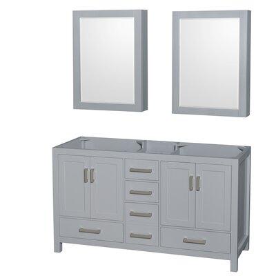 Sheffield 59 Double Bathroom Vanity Base Base Finish: Gray