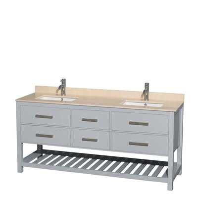 Natalie 72 Double Bathroom Vanity Set Base Finish: Gray, Top Finish: Ivory