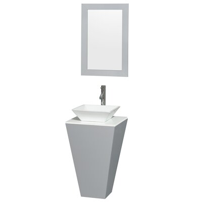 Esprit 20 Single Pedestal Bathroom Vanity Set with Mirror Sink Finish: Bone Porcelain