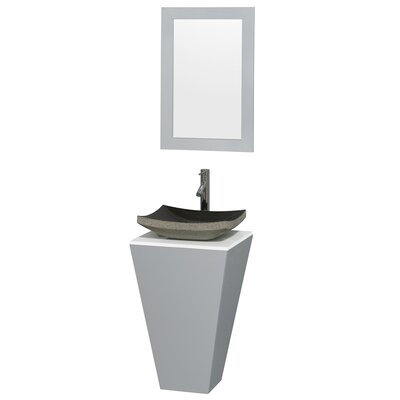Esprit 20 Single Pedestal Bathroom Vanity Set with Mirror Sink Finish: Altair Black Granite