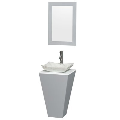 Esprit 20 Single Pedestal Bathroom Vanity Set with Mirror Sink Finish: Avalon Gray Carrera Marble