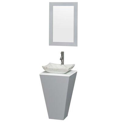 Esprit 20 Single Pedestal Bathroom Vanity Set with Mirror Sink Finish: Avalon Gray Carrera Marble