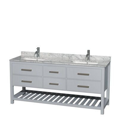 Natalie 72 Double Bathroom Vanity Set Base Finish: Gray, Top Finish: White Carrera