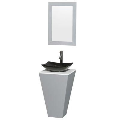 Esprit 20 Single Pedestal Bathroom Vanity Set with Mirror Sink Finish: Arista Black Granite