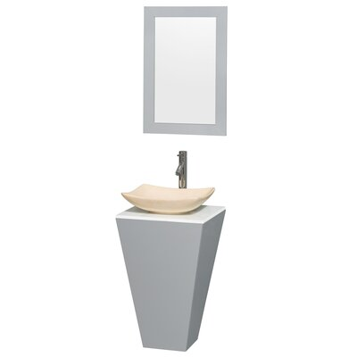 Esprit 20 Single Pedestal Bathroom Vanity Set with Mirror Sink Finish: Arista Ivory Marble