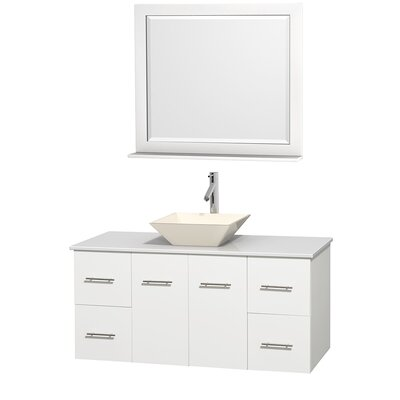 Centra 48 Single White Bathroom Vanity Set with Mirror Top Finish: White Man-Made Stone, Sink Finish: Bone Porcelain