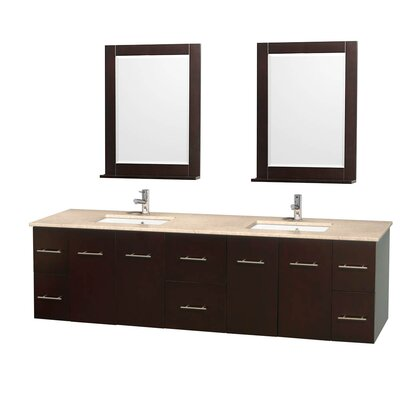 Centra 80 Double Espresso Bathroom Vanity Set with Mirror Top Finish: Ivory Marble
