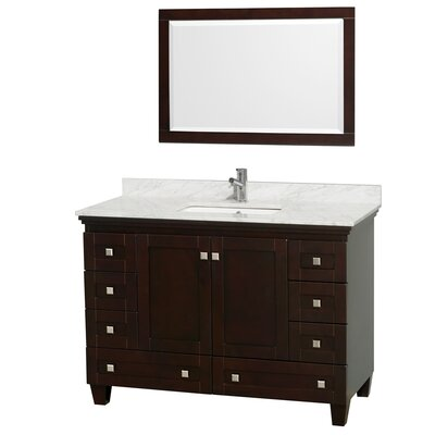 Acclaim 48 Single Espresso Bathroom Vanity Set with Mirror Top Finish: White Carrera Marble