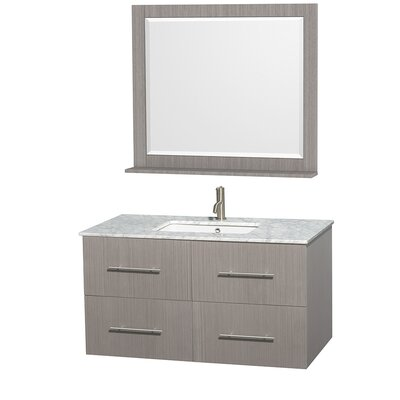 Centra 42 Single Gray Oak Bathroom Vanity Set with Mirror Top Finish: White Carrera Marble