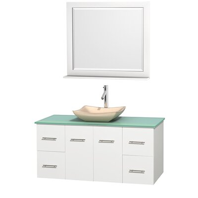 Centra 48 Single White Bathroom Vanity Set with Mirror Top Finish: Green Glass, Sink Finish: Avalon Ivory Marble