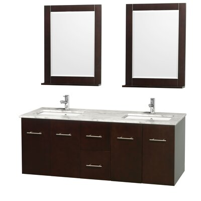 Centra 60 Double Espresso Bathroom Vanity Set with Mirror Top Finish: White Carrera Marble
