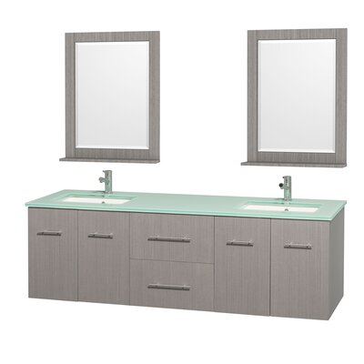 Centra 72 Double Gray Oak Bathroom Vanity Set with Mirror