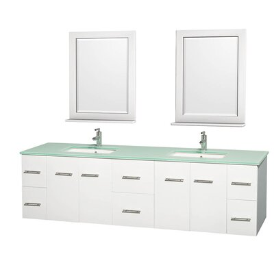 Centra 80 Double White Bathroom Vanity Set with Mirror