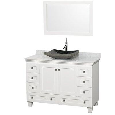 Acclaim 48 Single White Bathroom Vanity Set with Mirror Top Finish: White Carrera Marble, Sink Finish: Altair Black Granite