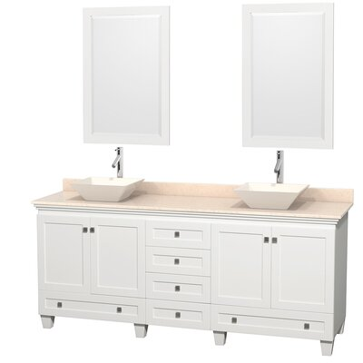 Acclaim 80 Double White Bathroom Vanity Set with Mirror Top Finish: White Carrera Marble, Sink Finish: Avalon Ivory Marble