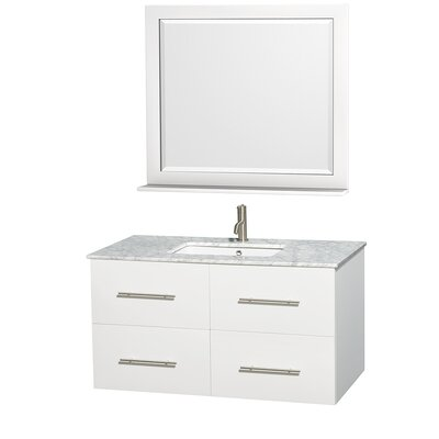 Centra 42 Single White Bathroom Vanity Set with Mirror Top Finish: White Carrera Marble