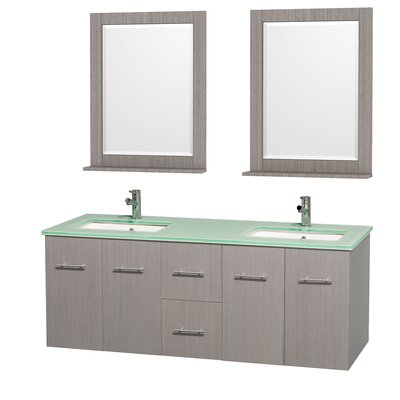 Centra 60 Double Gray Oak Bathroom Vanity Set with Mirror