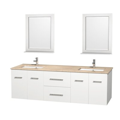 Centra 72 Double White Bathroom Vanity Set with Mirror Top Finish: Ivory Marble