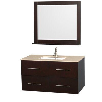 Centra 42 Single Espresso Bathroom Vanity Set with Mirror Top Finish: Ivory Marble