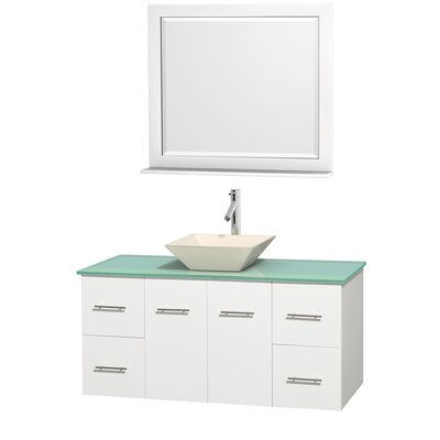 Centra 48 Single White Bathroom Vanity Set with Mirror Top Finish: Green Glass, Sink Finish: Bone Porcelain