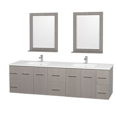 Centra 80 Double Gray Oak Bathroom Vanity Set with Mirror Top Finish: White Carrera Marble