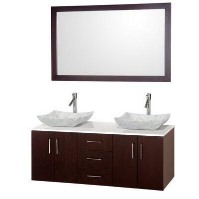 Arrano 55 Double Espresso Bathroom Vanity Set with Mirror Sink Finish: White Carrera Marble