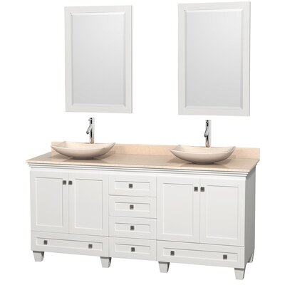 Acclaim 72 Double White Bathroom Vanity Set with Mirror Top Finish: Ivory Marble, Sink Finish: Arista Ivory Marble