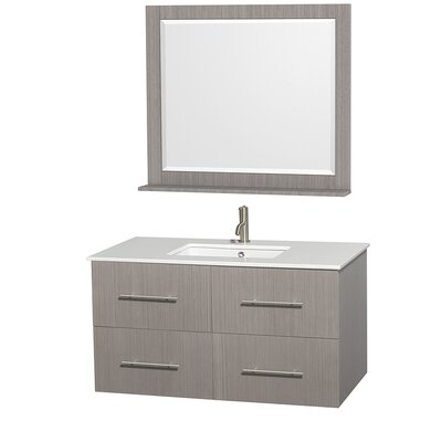Centra 42 Single Gray Oak Bathroom Vanity Set with Mirror
