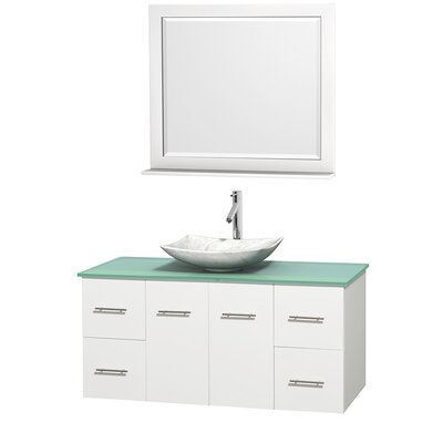 Centra 48 Single White Bathroom Vanity Set with Mirror Top Finish: Green Glass, Sink Finish: Arista White Carrera Marble