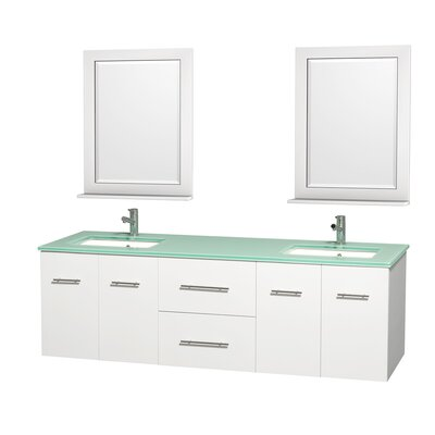 Centra 72 Double White Bathroom Vanity Set with Mirror