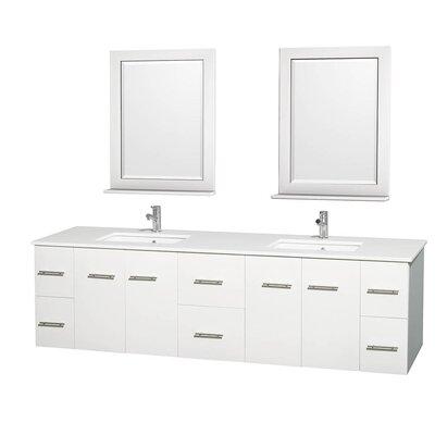 Centra 80 Double White Bathroom Vanity Set with Mirror