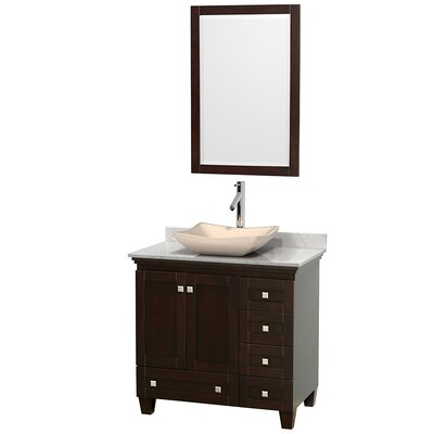 Acclaim 36 Single Espresso Bathroom Vanity Set with Mirror Top Finish: White Carrera Marble, Sink Finish: Avalon Ivory Marble