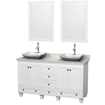 Acclaim 60 Double White Bathroom Vanity Set with Mirror Top Finish: White Carrera Marble, Sink Finish: Avalon White Carrera Marble