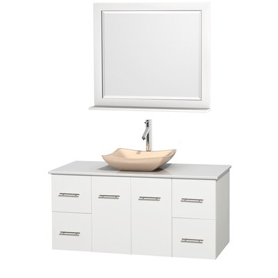 Centra 48 Single White Bathroom Vanity Set with Mirror Top Finish: White Man-Made Stone, Sink Finish: Avalon Ivory Marble
