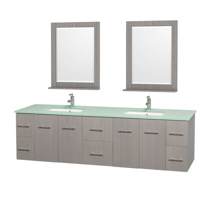 Centra 80 Double Gray Oak Bathroom Vanity Set with Mirror