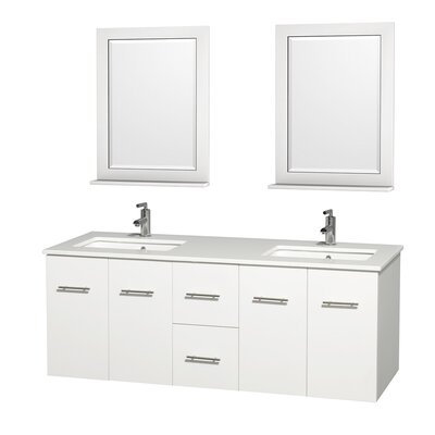 Centra 60 Double White Bathroom Vanity Set with Mirror