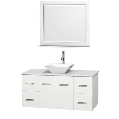 Centra 48 Single White Bathroom Vanity Set with Mirror Top Finish: White Man-Made Stone, Sink Finish: White Porcelain