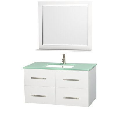 Centra 42 Single White Bathroom Vanity Set with Mirror