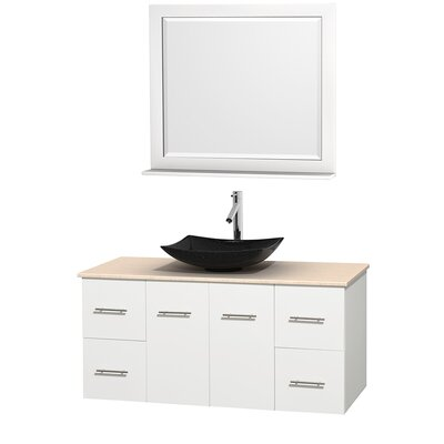 Centra 48 Single White Bathroom Vanity Set with Mirror Top Finish: Ivory Marble, Sink Finish: Arista Black Granite